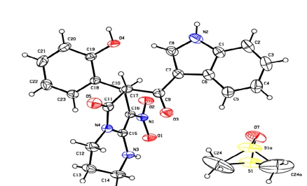 Crystal Structure Analysis of (6-hydroxy-8-(2-hydroxyphenyl)-9-nitro-2, 3, 4, 8-tetrahydro-1H-pyrido [1, 2-a] pyrimidin-7-yl) (1H-indol-3-yl) methanone